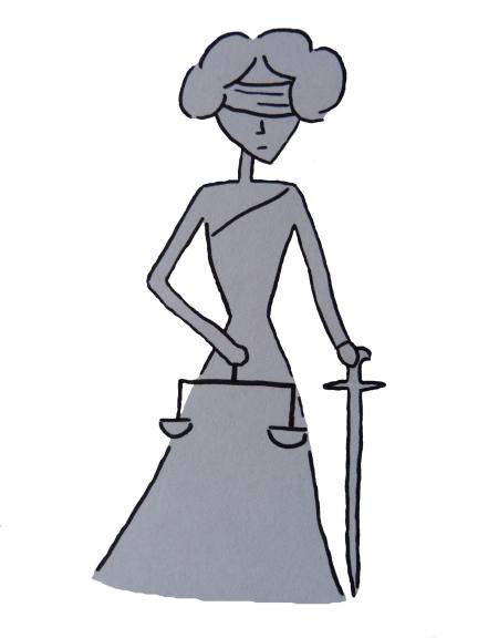 Cartoonzeichnung blinde Justizia