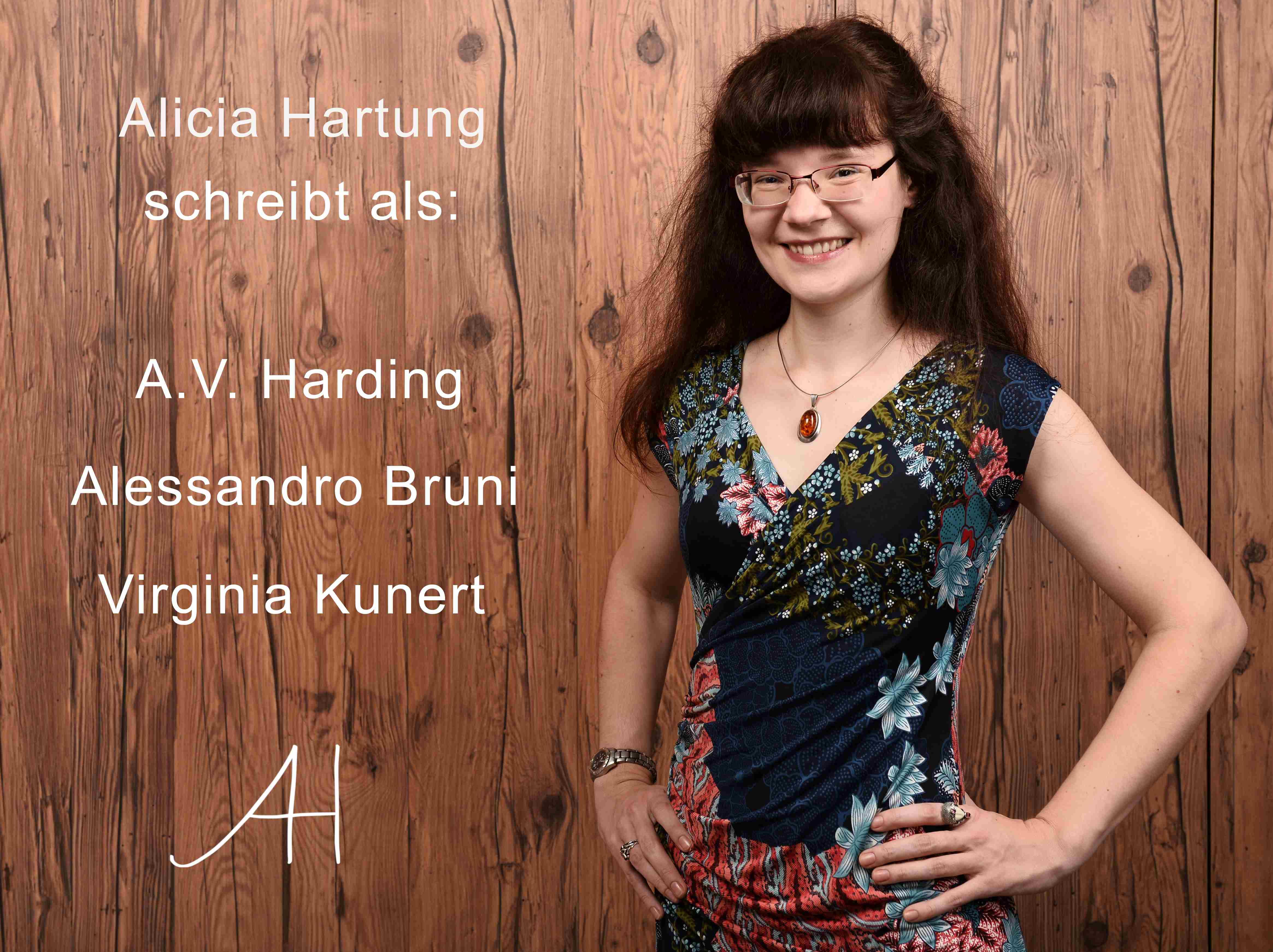 Bild der Autoren mit der Aufschrift Alicia Hartung schreibt als A.V. Harding, Alessandro Bruni und Virginia Kunert
